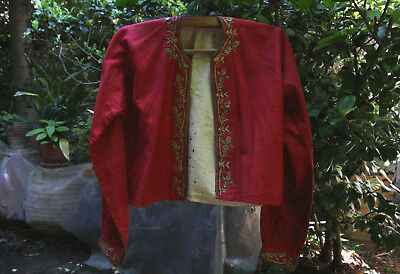 OTTOMAN ANTIQUE AUTHENTIC UNIQUE TRADITIONAL RED VEST - YELEK circa 19th century