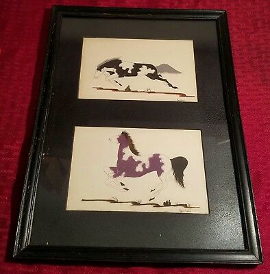 "VINTAGE GEORGE CAMBELL ""KEAHBONE"" WATERCOLOR  PAINTING NAVAJO? Matted and framed"