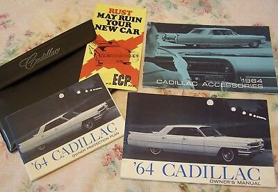 1964 Cadillac Owner's Manual Protection Plan & Accessories Booklet Vinyl Pouch