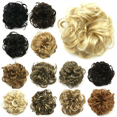 Synthetic Wave Curly Hair Extensions Hairpiece Bun Updo Scrunchie Wrap Ponytail#