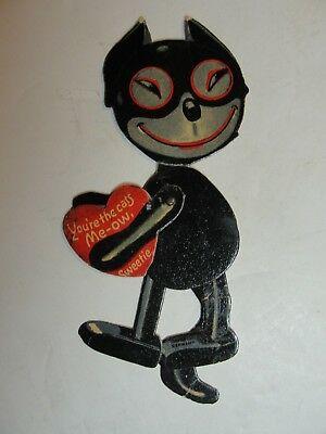 Vintage Mechanicial Die Cut Valentine** Cat With Heart**circa Early 1900's