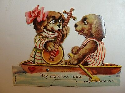 Vintage Mechanicial Die Cut Stand Up Valentine**2 Dogs In Boat**circa 1900's