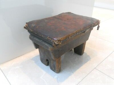 Small Antique Rustic Country Hand Made Oak Wooden Stool With Leather Top