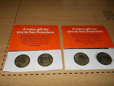 4 National Airlines Tokens for San Francisco Cable Car.. Trolly Car Tokens