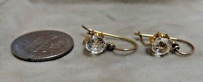 Antique Victorian 10k Yellow Gold Ladies Earrings w/ White Sapphires? or Topaz?