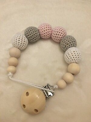 Handmade Wooden Dummy Clip Chain Silicone Beads Teether Baby Gift Pacifier