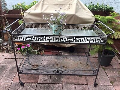 Vintage Mid-Century Wrought Iron Rolling Outdoor / Indoor / Bar / Tea Cart