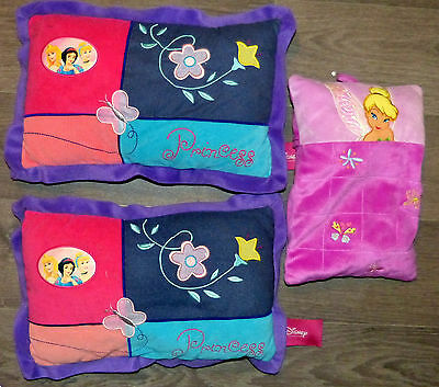 LOT de 3 PETITS COUSSINS PRINCESSES DISNEY FEE CLOCHETTE velours !!!