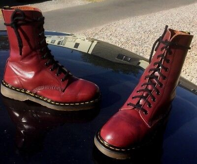 Vintage Dr Martens 1490 cherry red smooth leather boots UK 6 EU 39 England