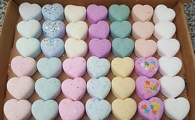 Handmade mini bath bomb hearts bundle  42 variety of  lushous scents & colours