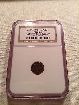 Judea Prutah Widows Mite Genuine Money Of The Bible Ngc Authenticated 130-37 Bc