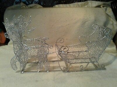 Silver Wire Reindeer And Sleigh Christmas Decoration