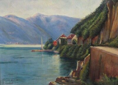 Emile-Félicien Lombard, Antique French Oil Painting French Alps Lake Annecy 1912