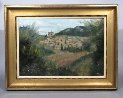 Vintage French Oil Painting, Village in Provence, Cypress Trees, Signed Bordes