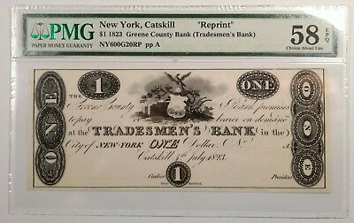 1823 $1 Catskill NY Greene County Bank Reprint Note PMG 58EPQ