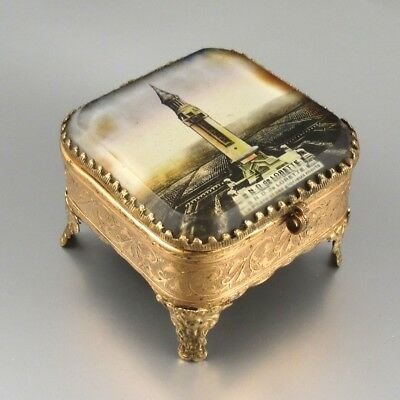 Antique French Gilded Jewelry Casket Box, WWI French Military Cemetery, ca 1925