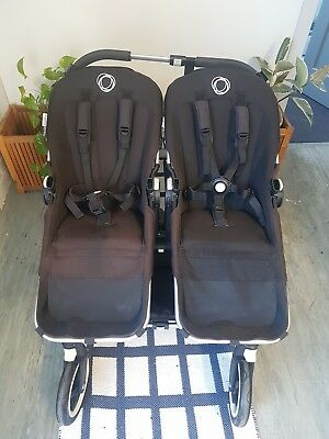Bugaboo Donkey Twin Pram with baby bassinet and rear skateboard attachment (JCB)