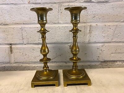 Antique Early 20th Century Pair of Brass Victorian Style Candlesticks