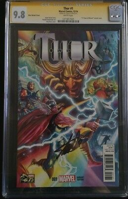 Thor #1 1:75 Alex Ross Color Variant 75 Years Of Marvel CGC SS 9.8 Stan Lee