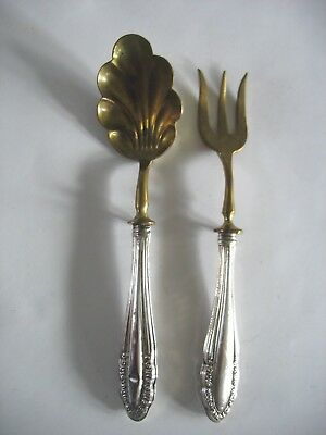 Vintage 800 silver Cocktail ? fork and Sugar spoon Brass bowl & Tines German?