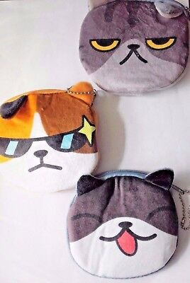 """Coolest Cat soft fabric , zipped coin purse, 4.5 """" x 4.5 """", a lovely gift."""