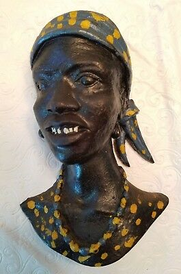 *RARE*Vintage Copper African Woman Wall Hanging Bust, Copper Crafts Ltd.,Zambia