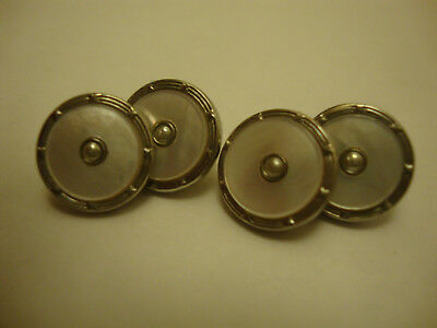 Nice antique mother of pearl old vintage art deco retro cufflinks 1900-1950's