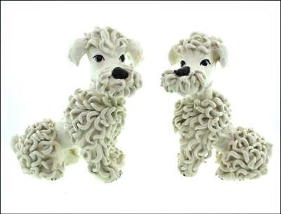 Vintage 50's Two (2) Large Spaghetti Poodles White Made in Italy