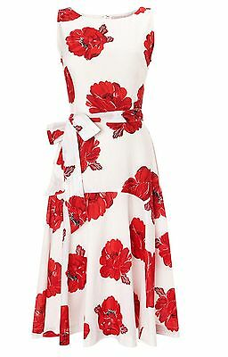 Phase Eight /8 Iona Flare Dress - Red/White - U.K. 10 - Brand New with Tags