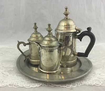 Vtg William Adams Towle Silver Plate Miniature Tea Set Colonial Pewter Tray