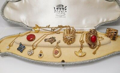 Job Lot Of Vintage Jewellery Ring Pendant Stick Pins Necklace Indian Chief Horse