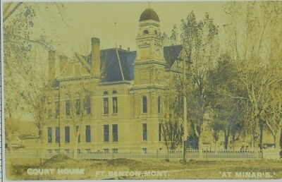 c.1910 Fort Benton Montana Court House Chouteau County At Minar's RPPC VG