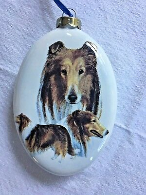 "New Hand Painted Ceramic Collie Dog Christmas Ornament 3"" x 4"""