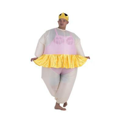 Cute Adult Inflatable Ballerina Costume Fat Suit for Women/Men Air Fan X0H9