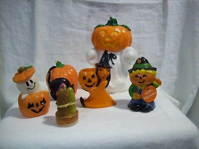 Halloween/Harvest Candles w/ Plastic Witch