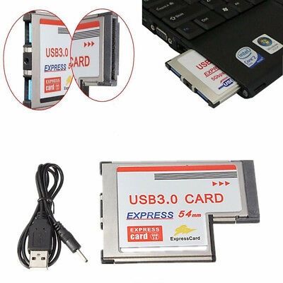54mm Express Card ExpressCard to 2 Port USB 3.0 Adapter for Laptop FL1100 Chip