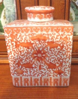 Vintage Chinese Quality  Pottery Lidded  Pot Hand Painted Circa 1960s