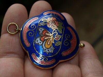 Vintage Large Chinese Cloisonné Enamel Double Sided Pendant Butterfly Blue 43mm