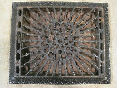 Vintage Cast Iron Victorian Heat Register with Louvers