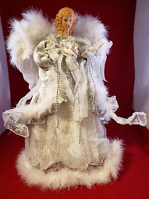 16 inch Angel Christmas Tree Topper sparkle Silver white Feather Wings elegant