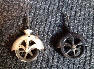 Vintage Screw In Barn Wall PULLEY pair Antique architectural  Hardware Salvage