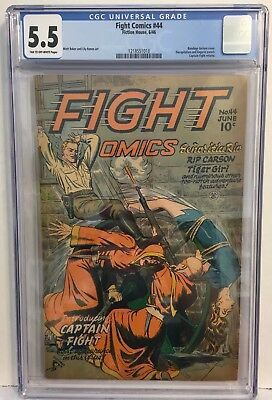Fight Comics #44 CGC 5.5 (Jun 1946, Fiction House) Classic Bondage Torture Cover
