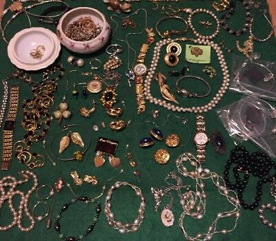Junk Drawer Jewelry Lot: Scrap 10K 14k Gold 925 Silver, Watches, Signed, Costume