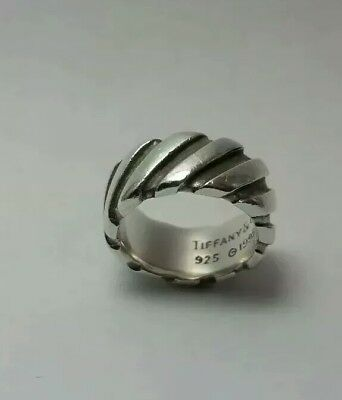 Tiffany & Co. Sterling Silver Grooved Twist heavy wide Band Ring Size US 4.5