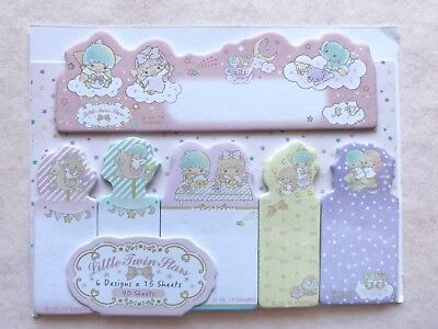 LITTLE TWIN STAR sticky memo note pad pastel pink fairy kei kawaii stationery