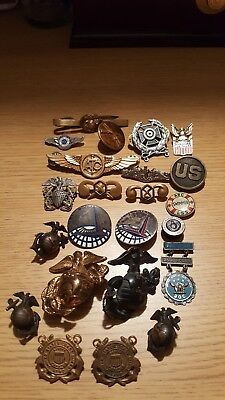 WWII us pin lot usmc navy army pins wwii and after