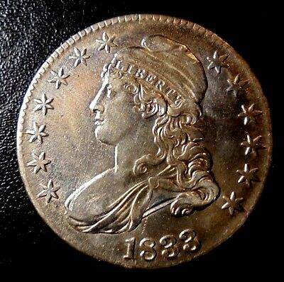 Rare 1833 Au+ Capped Bust Choice Almost Uncirculated Silver Half Dollar Coin