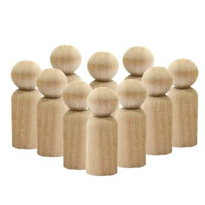 10pcs Wooden Peg Family Dolls DIY Crafts Gifts Topper Kid's Toys Home Decor X6N1