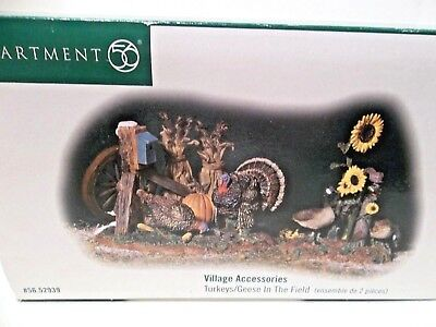 DEPT 56 Village Accessories SET (2)  Turkeys & Geese in the Field 52939 Fall EUC