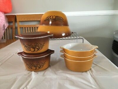 Vintage Pyrex Old Orchard 9 pieces